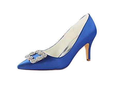 Emily Bridal Hochzeit Schuhe Seide High Heel Spitzschuh Blumen Detail Slip auf Braut Pumps (EU37, Blau)