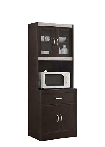 Hodedah HIK96 Choco-Grey Kitchen Cabinet, Chocolate