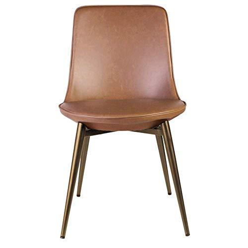 N&O Renovierungshaus Esszimmerstühle Leder Esszimmerstuhl Verhandlungsstuhl Moderner Minimalistischer Freizeitstuhl Wasserdichter Einfacher Moderner Esszimmerstuhl (Color : Brown Size : 48x57x83cm)