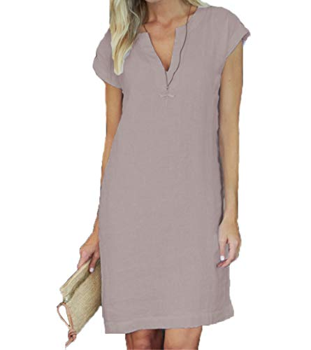 Arevill Damen Sommer LeinenKleider V-Ausschnitt Kurzarm A-Linie Kleid Sommerkleid Knielang,Khaki,XL