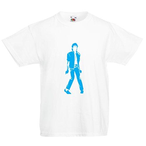 lepni.me Camiseta para Niño/Niña Me Encanta M J - Rey del Pop, 80s, 90s Músicamente Camisa, Ropa de Fiesta (1-2 Years Blanco Azul)
