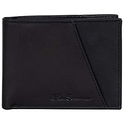 Ben Sherman Manchester Collection Full-Grain Leather Anti-Theft RFID Slim Tri-Fold Exterior Slot, Slimfold Card Trifold Wallet Marble Crunch Black