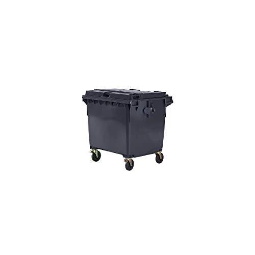 SSI Schäfer Kunststoff-Großmüllbehälter, nach DIN EN 840 - Volumen 1100 l - anthrazit - für außen Abfallsammler Abfalltonne Abfalltonnen Großmüllbehälter Großmüllbehälter aus Kunststoff Großvolumenwertstoffsammler Müllbehälter Müllcontainer Mülleimer