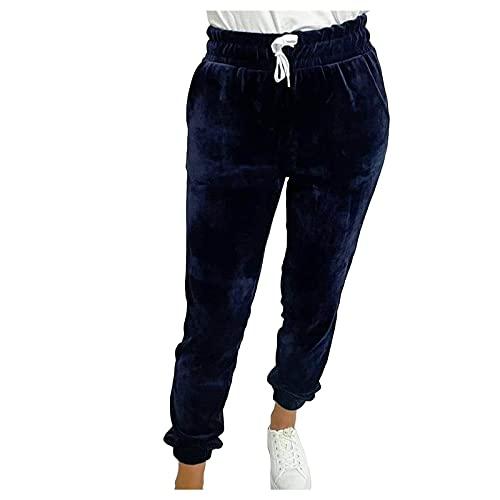 Pantalones térmicos para mujer, pantalones de jogging de cintura alta, para invierno, pantalones deportivos con bolsillos, elásticos y cómodos