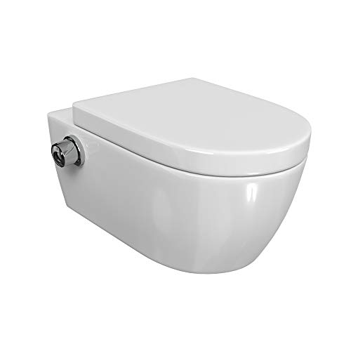 SSWW | Taharet WC | Inkl. Armatur und abnehmbarer Softclose Sitz | Dusch-WC | Hänge-WC | Toilette mit Bidet-Funktion | Hygienisch | Alpha Spülrandlos | 540 x 360 x 330 mm