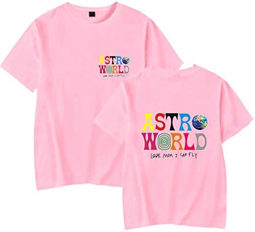 PANOZON Camiseta Hombre Impresión de Travis Scott Astroworld T-Shirt Básico Top Unisex Manga Corta Estilo Casual (L, Rosado 27)