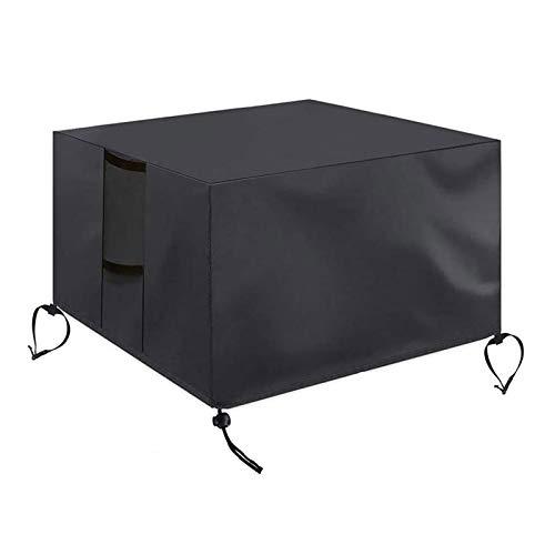 æ— Feuerschalen-Abdeckung, quadratisch, 32 x 32 x 61 cm, Oxford wasserdicht, 420D, robuste Feuerschalen-Abdeckung mit dicker PVC-Beschichtung, Schwarz