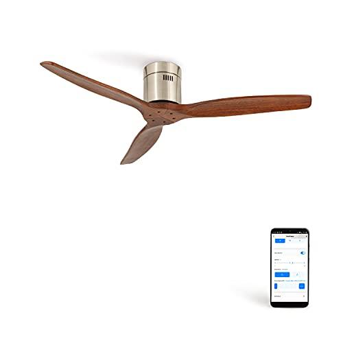 IKOHS AIRCALM DC - Ventilador Techo Ultrasilencioso con Función Invierno - Verano (Niquel madera oscura Wifi)