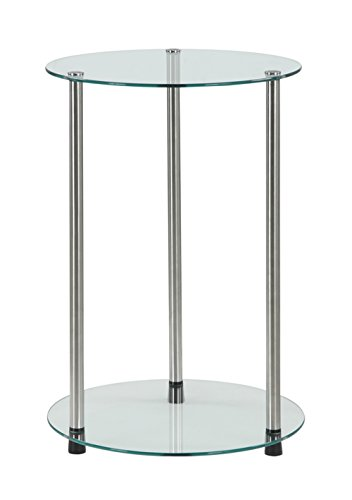 Convenience Concepts Designs2Go Classic Glass 2 Tier Round End Table, Glass