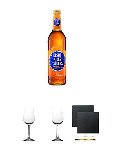 Kreuz des Südens Aprikosen Likör verfeinert mit Rum 0,7 Liter + 2 Bugatti Nosing Gläser mit Eichstrich 2cl und 4cl + 2 Schiefer Glasuntersetzer eckig ca. 9,5 cm Ø