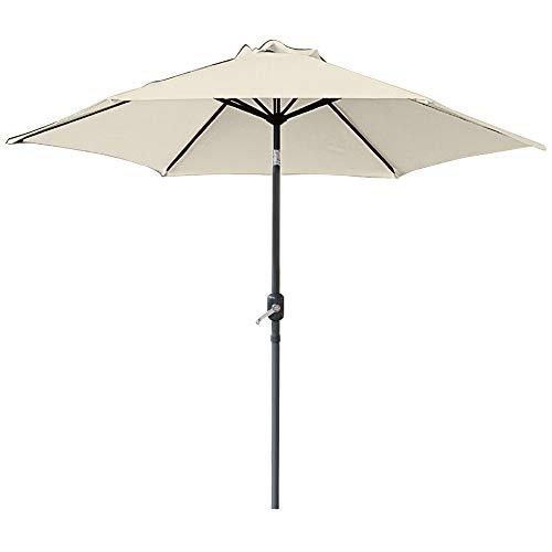 Greenbay 3m Round Parasol 8 Metal Ribs Construction Garden Furniture Parasol Outdoor Umbrella With Winding Crank & Tilt Function (Cream)