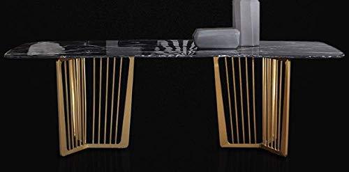Eettafel LKU Marmeren eettafel rechthoekige thuis eettafel designer lichte luxe roestvrijstalen eettafel, tafel 140x80x76cm