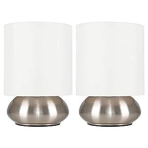 MiniSun – Set de 2 Modernas Lámparas de Mesa Táctiles – Base Curvada con Pantalla de Color Crema – Mesas o Mesillas de noche - iluminación Interior
