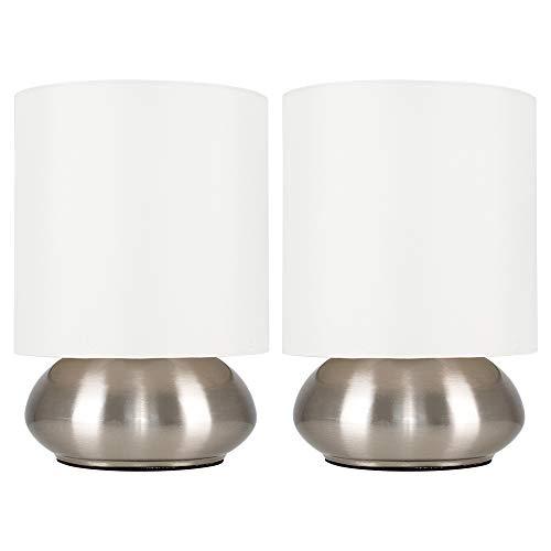 MiniSun – Moderne runde Touch-Me Tischlampen mit gebürstetem Chrom Finish und cremefarbenem Stoffschirm (2er Set) – Tischleuchten mit Touchdimmer