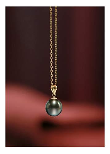DX.PZ Negro Tahitiano Perla Colgante Oro De 18 Quilates Colgante con Cadena Collar Regalos De Joyería para Mujeres,B