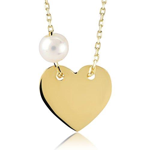 Damesketting 14 karaat / 585 geelgoud hart met parel halsketting en briljante hanger | Gouden Heart Necklace met ketting | Kettinglengte 45 cm