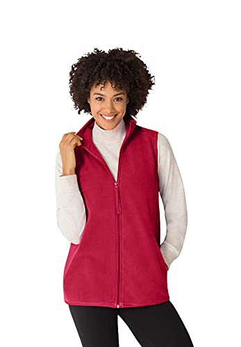 Woman Within Women's Plus Size Zip-Front Microfleece Vest - 3X, Classic Red