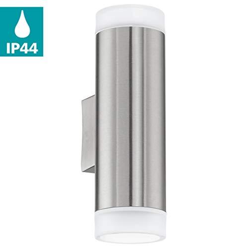 EGLO LED buiten-wandlamp Riga-LED, 2 spots buitenlamp, wandlamp van roestvrij staal en kunststof, kleur: zilver, wit, IP44