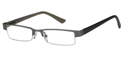 Sunoptic OR54A-Occhiali da lettura con custodia, colore: grigio canna di fucile