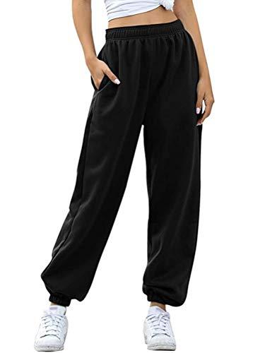 Minetom Pantalon de Jogging Femmes Pantalons de Survêtement Long pour Running Fitness Training Élastique Taille Haute Pants avec Poche A Noir Normal Medium