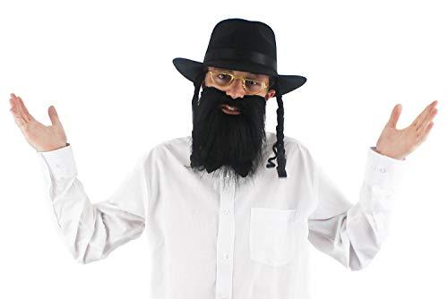 I LOVE FANCY DRESS LTD Sombrero de Conejo judío + Barba + Gafas Conjunto de Disfraces ortodoxo - Sombrero Negro Patillas rizadas y Barba Larga