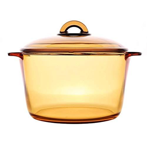 HIZLJJ Cazuela de vidrio transparente redonda con tapa, resistente al calor y a los golpes, horno congelador y lavaplatos, olla de sopa binaural, cristal transparente, ámbar (tamaño: 5L)