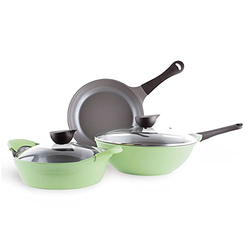 Neoflam Eela 5pc Ceramic Nonstick Cookware Set, PFOA Free Pots and Pans with Integrated Steam Vent Lid knob Prevents Boil Over for Safer Cooking, Silicone Hot Handle Holder Included, Apple Green