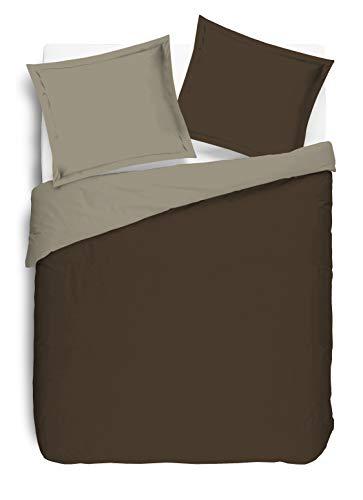 VISION Parure de couette 100% coton - 1 housse de couette 240x260 cm + 2 taies 65x65 cm marron et taupe