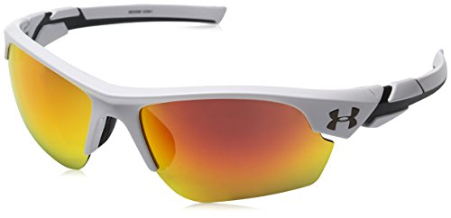 Under Armour Unisex-Child Windup Sunglasses, SHINY WHITE/GRAY WITH ORANGE MIRROR, YOUTH