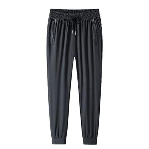 Yikesnt Pantalones casuales para hombre, de verano, tallas grandes, para correr, sueltos, con bolsillos y cordón, 1, XL