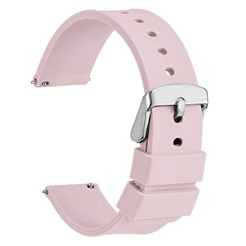 WOCCI 18mm Silicona Correa Reloj con Hebilla Plateada, Liberación Rápida para Hombre Mujer (Rosa Claro)