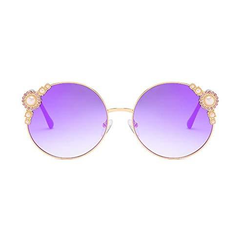 HYUHYU Retro Ronde Zonnebril Ontwerper Vrouwen Hoge Mode Merk Regenboog Lens Wit Parel Ronde Bril Vrouwelijke Spiegel Uv