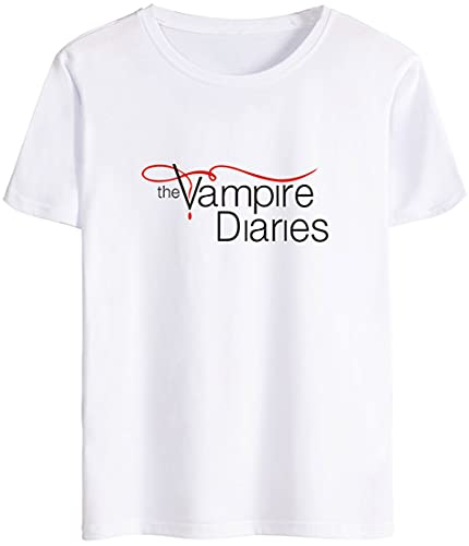 MINIDORA The Vampire Diaries Maglietta da Uomo Maniche Corte Unisex T-Shirt Casual M,Bianco Logo