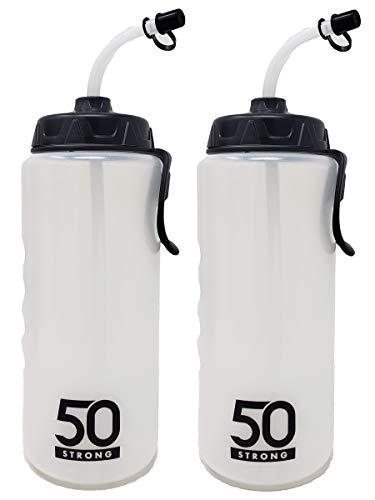 1 Liter Sports Water Bottle W/ Straw - Easy Squeeze + Built In Finger Grip & Carry Loop - BPA Free Plastic - Use W/ Sport Helmet In Football & Hockey - Single & Multi-pack (2-Pack)