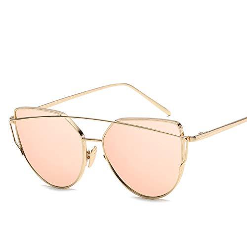 SCAYK Gato Ojo Gafas de Sol Mujeres Lujo Marca diseño Espejo Lente Vintage Gafas de Sol Rosa Oro Metal uv400 Ojo Gafas Moda Gafas de Sol para Mujeres (Lenses Color : Gold Pink)