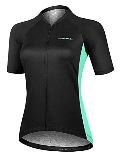 INBIKE Abbigliamento da Ciclismo Donna Maglia con Manica Corta Traspirante Asciugatura Rapida Jersey Camicie per Mountain Bike Strada Bicicletta