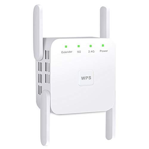 Haihui Ripetitore WLAN AC1200 WiFi (867 Mbps/5 GHz 300 Mbps/2,4 GHz) Dual Band, Wireless Signal WLAN Range Extender con WPS, porta LAN