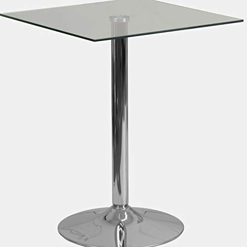 Cudney Standard Height Dining Table, Clear Tempered Glass Surface, Designed for Commercial and Residential Use