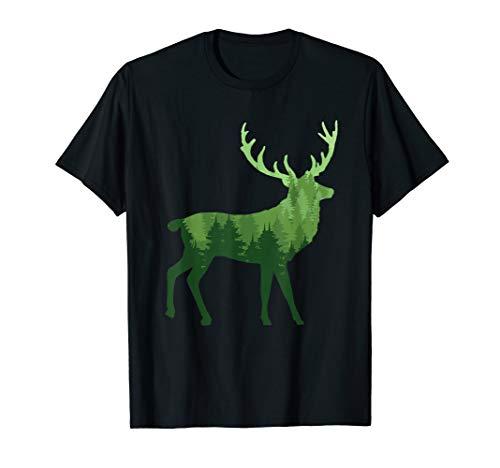 Unique Elk Hunter Gift   Forest, Trees, Big Game Hunting T-Shirt
