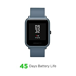 """Amazfit Bip Lite Smartwatch, 45-Day Battery Life, Heart Rate & Sleep Monitor, 1.2"""" Always-On Touchscreen, 3 ATM Water Resistant, Multisport Tracker, Blue (W1915IN3N)"""