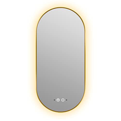 XIAOYUE Moderno Espejo de Baño LED Iluminado, Espejo de Pared con Control Táctil Espejo Plateado a Prueba de Explosiones de Alta Definición con Brillo Ajustable, Antivaho, Marco De Metal, Dorado