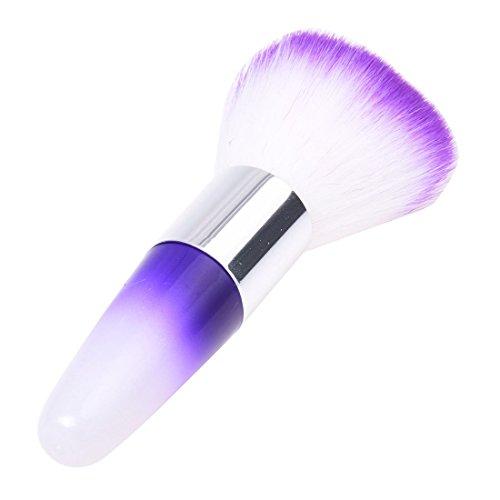 Vaorwne 1pc Pro l'Art des ongles brosse de poussiere Brosse a flush pour le visage Outils de Maquillage Outils cosmetiques Violet + Blanc
