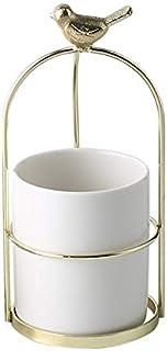 وعاء زرع أبيض كبير، سيراميك أسطواني نضر - شكل الطيور الصلب حامل الطلاء، وعاء زهور الصبار للمكتب، النافذة، المطبخ والشرفة