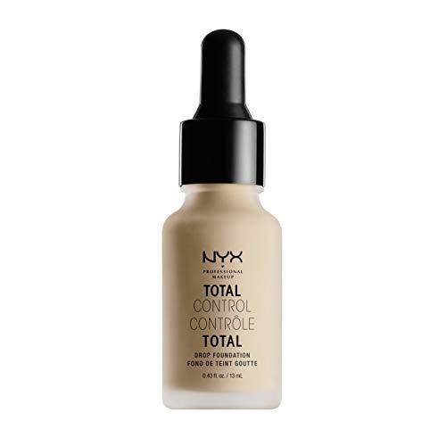NYX Professional Makeup Base de maquillaje Total Control Drop Foundation, Dosificación precisa, Cobertura modulable, Larga duración, Fórmula vegana, Acabado mate, Tono: Natural