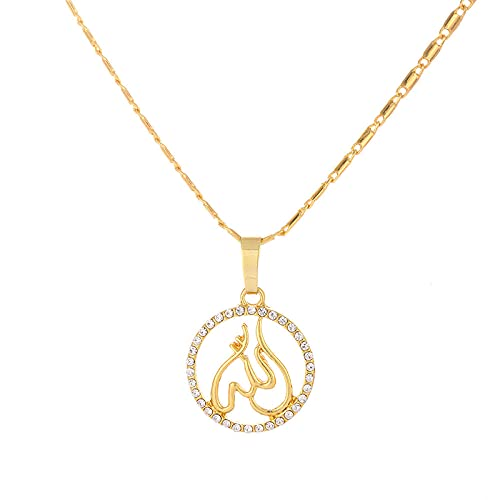 TTbaoz Collar Colgante musulmán Cadena islámica joyería de Allah con Placa de Oro joyería Religiosa para Hombres/Mujeres-Gold_45cm