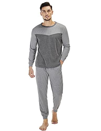Doaraha Pijamas Hombres Invierno Algodón Pijama Hombre de Manga Larga Ropa de Dormir 2 Piezas Suave...
