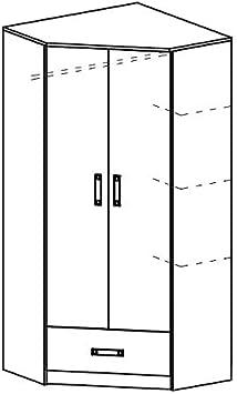 Furniture24 Eckkleiderschrank TRAFIKO 02 Kinderzimmer Kleiderschrank f/ür Jugendzimmer 2 T/üriger Dreht/ürenschrank Eckschrank mit 3 Einlegeb/öden Wei/ß//Rosa Kleiderstange und Schublade