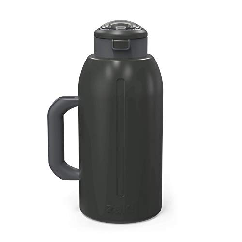 Zak Designs 64oz Genesis Flex Double Wall Vacuum Insulated Water Bottle 18/8 Stainless Steel Non BPA, Leak Proof Flex Lid with Straw and with Built-In Carry Handle, Charcoal
