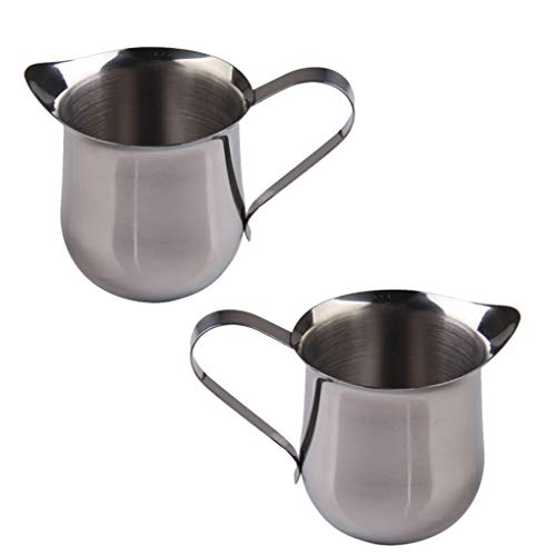 Rolin Roly 2 pcs 60ml Stainless Steel Small Bell-Shaped Milk Frothing Pitcher Creamer Milk Jug for Barista Cappuccino Espresso Coffee (60ml)
