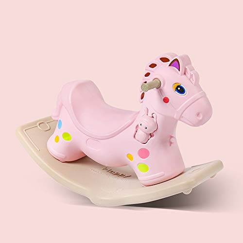 SXNYLY Pony Children's Trojan Horse Plastic Rocking Horse Educational Balance Animal Toy Boy and Girl 1-3 Years Old Baby Balance Toy Environmental Protection Material Safety Baby Gift (Color : Pink)